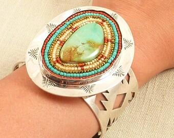 Vintage Southwestern Santa Fe Artist JLC Cut Out Sterling Turquoise and Multicolored Beaded Bracelet