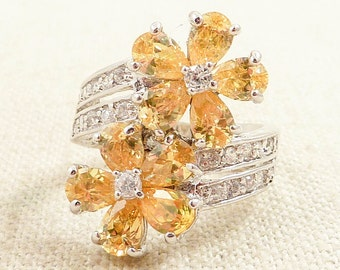 Size 7 Vintage Cubic Zirconia and Yellow Gemstone Sterling Flower Ring