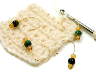 Removable Stitch Markers Crochet Snagless Rainbow Stone Round Snag Free Beaded DIY Crochet TJBdesigns