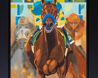"""Triple Crown Winner American Pharoah, Horse Racing Art Giclee Print of Original Painting on Canvas 22"""" x 28"""" Belmont Stakes Horse Racing Art"""