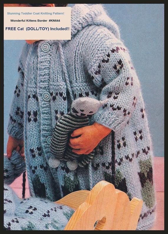 Cat Coat Knitting Pattern : Pdf vtg baby child coat free cat toy knitting pattern
