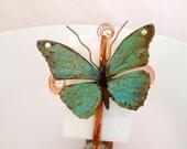 Handmade Glass Butterfly nightlight, Cottage Chic, Stained Glass nightlight, Copper, Swarovski, Copper Night Light