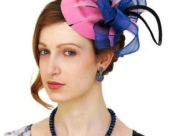 Fascinator - Pink fascinator  Blue Fascinator  Wedding Mini Hat Black Swirl ROSENBLUM