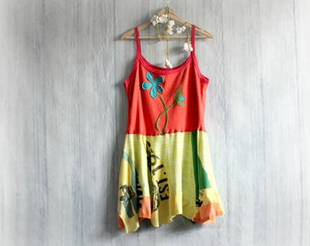 Colorful Summer Dress Boho Sundress Upcycled Clothes Flower Child Hippie Clothing Mixed Fabrics Tattered Gypsy Women's Tank Dress L/XL 'JUNO