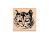 CHESHIRE CAT FACE-Alice in Wonderland Cheshire Cat- wood mounted rubber stamp- (32-05)