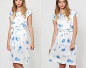 SALE Vintage 70s FLORAL Day Dress White Blouson Sleeveless Blue FLORAL Dress Retro Boho Mini Dress Belted Dress