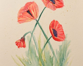 ORIGINAL Watercolor Painting   --Poppies With Gold--