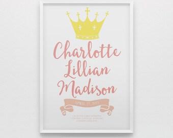 Royal princess birth stats wall art for newborn baby girl, pink