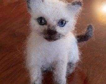 Siamese Kitten, Needle Felted Wool Cat