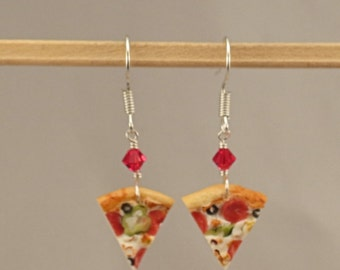 Miniature Food Supreme Pizza Earrings