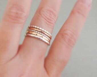 5 Mixed Metal Stack Rings hammered rings stackable mixed set of 5 knuckle rings, thumb rings, midi rings or regular rings