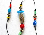Beaded Wind Chime: Garden Chime with Colorful Opaque Glass Beads. Fiesta Colors. Turquoise. Orange. Yellow. Blue. Floral Bead. Brass Bell