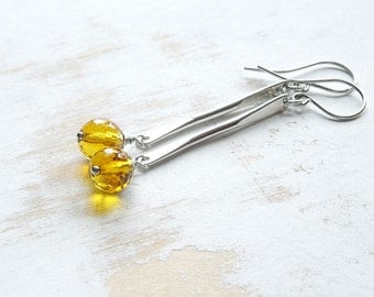 Sterling Silver Hand Forged Long Dangle Earrings with Citrine, Metalwork Earrings, Artisan Jewellery, Yellow Statement Earrings
