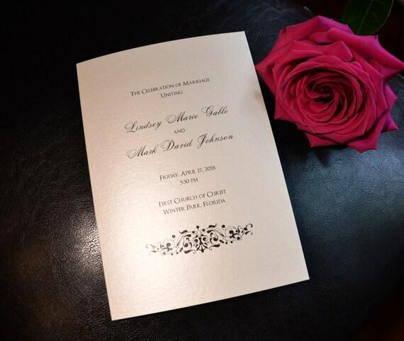 Elegant Flourish Bi-fold 5x7 Folded Wedding Programs
