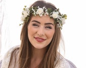 Flower Crown of Ivory Rose and Green Fern and Babies Breath Boho Wedding Floral Halo Wreath Floral Hair Wreaths Bridal Woodland Wedding