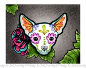 Day of the Dead Chihuahua in White - Sugar Skull Dog Art Print 8 x 10 - Prints for Pits Rescue Donation