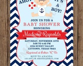 Custom Printed Navy and Red Chevron Nautical Baby Shower Invitations - 1.00 each with envelope