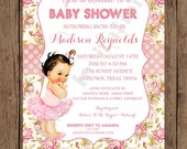 Custom Printed Shabby Chic Vintage Ballerina Baby Shower Invitations - Any hair color - 1.00 each with envelope