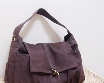 Back To School SALE - 20% OFF Classic in Waxed Canvas Dark Brown / messenger / diapers / School bag / Shoulder Bag / Purses / women