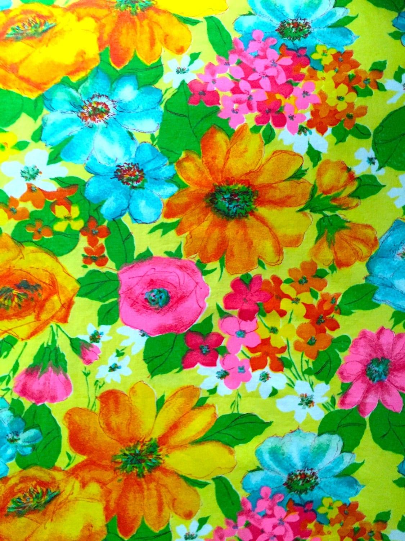Vintage Boho Flower Power Fabric Neon Retro 70s Floral