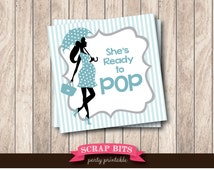 Instant Download . Blue & Grey Printable Ready To Pop Tags with Umbrella Lady . Printable Baby Shower Favor Tags