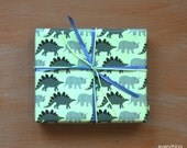 """Small Gift Wrapping Paper // Stegosaurus & Triceratops Dionsaurs - 12.5"""" x 18.75"""""""