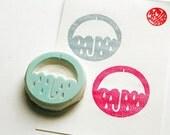 umbrella silhouette stamp. circle hand carved rubber stamp. raind stamp. spring birthday scrapbooking. diy gift wraps. holiday crafts