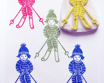 skiing stamp. skier hand carved rubber stamp. winter sports stamp. diy christmas birthday. handmade stationery. winter holiday crafts