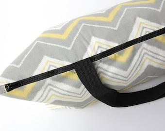 Large Yoga Bag, Zipper Yoga Mat Bag, Pilates Mat Bag, Chevron Striped Yoga Bag, Gray Yoga Bag, Handmade Yoga Bag, Yoga Bag Wide Mat