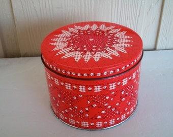 Vintage Hallmark Round Tin Canister Red And White Bandana Design Light Wear