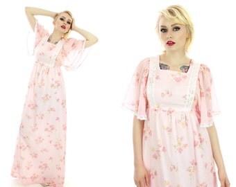 70s Festival Dress Vintage Floral Flutter Sleeves Boho Hippie Prairie 60s Empire Waist Pink Angel Wings Small S Medium M