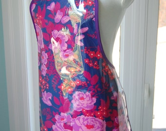 Rose Bouquet Vinyl Apron - wipe clean and waterproof apron - fabric with clear vinyl covering