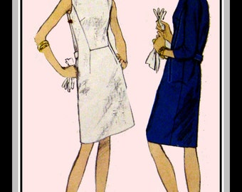 Vintage 1960s-VOGUE MOD DRESS-Sewing Pattern-Two Designs-Clean-Minimal Style-A-Line Dress-Seam Interest-Long Sleeves-Sleevless-Size 12-Rare