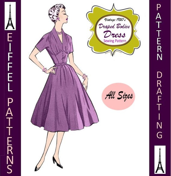 Draped Gown Pattern: 1950s-Elegant DRAPED DRESS-Shaped By FarfallaDesignStudio