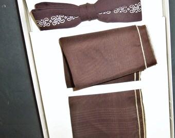 Vintage Art Deco Bow Tie Pocket Square Handkerchief Brown Unused 1950's