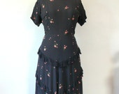 vintage 1940s Dress  // Rayon Navy Ruffle Dress