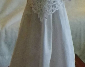 White Battenburg Lace pointed bodice christening, baptism, blessing gown