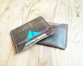 Men's Leather Wallet Minimalist Card Holder Sleeve Green