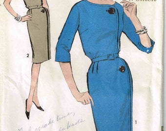 Wiggle Dress Bateau Neckline Asymmetrical Advance 3021 Sewing Pattern Vintage 1960's Size 14 Bust 34 Inch