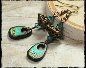 Surfer Girl... Handmade Jewelry Earrings Beaded Crystal Wood Antique Brass Turquoise Teal Aqua Blue Green Brown Dangle Lightweight Boho