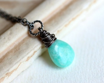 Amazonite Necklace on Oxidized Sterling Silver - Amazonia by CircesHouse on Etsy