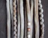 10 Wheat Tie-Dye Wool Synthetic Dreadlock *Clip-in Extensions Boho Dreads Hair Wraps & Beads Custom
