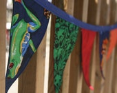 Fabric Bunting Banner  Rainforest Frogs Reversible Reusable Flags - Ready to ship
