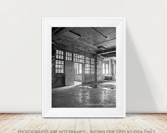 Dark Geometric Architecture Photograph, Windows Photography, Door, Abandoned Urban Decay Art, Urban Exploration, Modern Neutral Gray