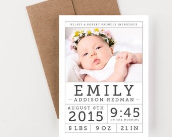 Photo Birth Announcement, Modern Baby Girl or Boy, New Baby Announcement