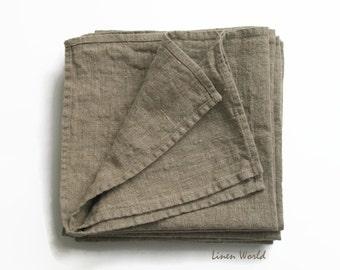 """6 Pure Linen Napkins 18""""x18"""" / softened 100% linen / natural grey flax / heavy raw linen / rustic linen cloth napkins set"""
