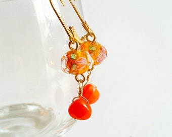 Bright orange drop earrings