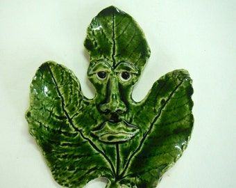 Fig Leaf Man Ceramic Mask-wall sculpture-ceramic leaf