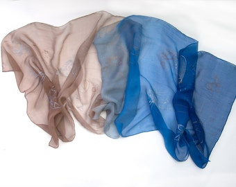 Silk chiffon scarf- Silver Butterfly/ Blue beige scarf, Hand painted scarf/ Long transparent scarf, Ombre shawl