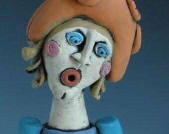 WOMAN WITH CAT, Cat, Cat Lady, Women Clay Sculpture, Goddess, Spirit Figure, Sculpted Figure, Human Form, Goddess, Woman Sculpture, Female
